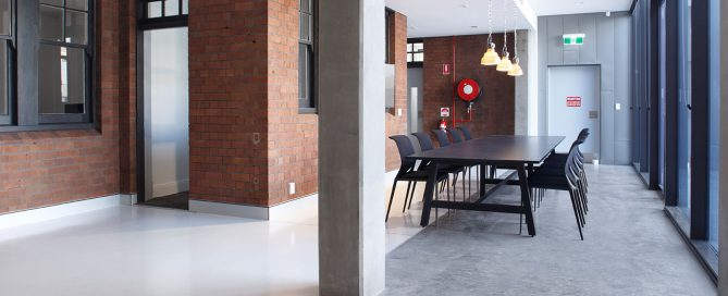 polished concrete flooring Pyrmont Fire Station