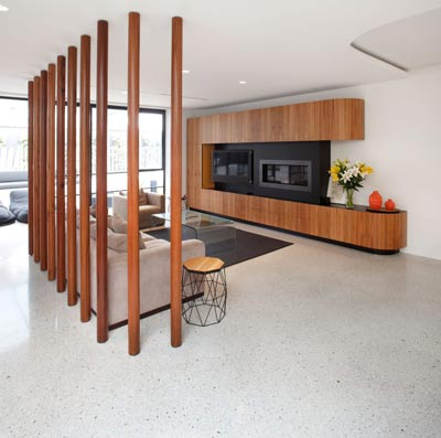 green concrete flooring in home
