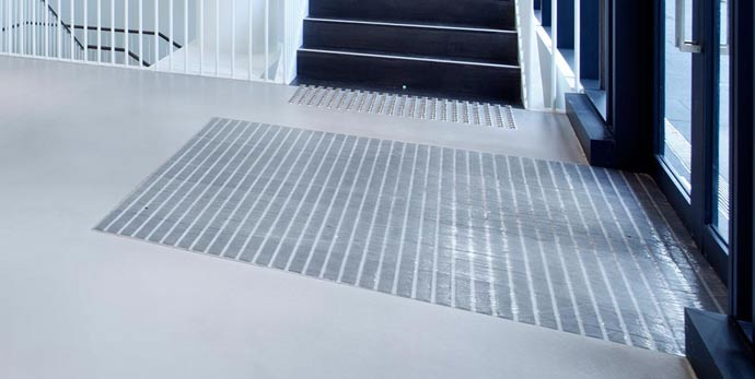 using a recessed entry mat to protect concrete floor